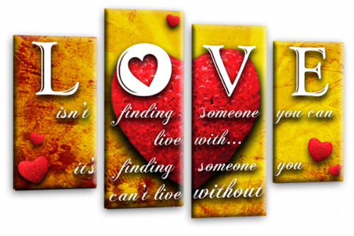 Love Heart Quote Canvas Wall Art Picture Red Orange White Print